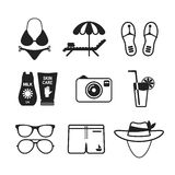 Set of vector monochrome beach vacations icons in flat style Stock Image