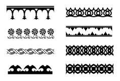Set of vector monochrome border pattern brushes Stock Image