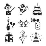 Set of vector monochrome celebration icons in flat style. Like pie champagne wineglass gift box air balloon funny mask cap and jack in the box Royalty Free Stock Image