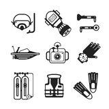 Set of vector monochrome diving icons in flat style Stock Photography