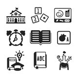 Set of vector monochrome education icons in flat style Stock Photos