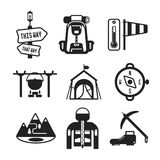 Set of vector monochrome hiking icons in flat style Stock Images