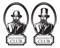 Set of vector monochrome illustrations for gentleman s club.  stock illustration