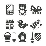 Set of vector monochrome kids toys in flat style Royalty Free Stock Images