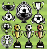 Set of vector monochrome league icons with soccer ball, ribbon and cups Stock Image