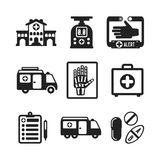 Set of vector monochrome medical icons in flat style. Set of vector monochrome medical icons like hospital building ambulance car first aid kit x-ray pills drugs Royalty Free Stock Photo