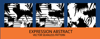 Set of Vector monochrome seamless pattern with ink brush strokes. stock illustration