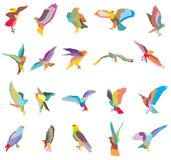 Set of vector mosaic eagle silhouettes-2. Set of vector colorful mosaic cut out flying and sitting silhouettes of eagle, hawk isolated on white background Royalty Free Stock Image