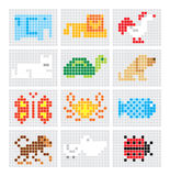 Set of vector mosaic sketch animals Stock Image