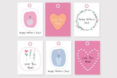 Set of 6 vector Mother`s day gift tags with hearts, flowers and words vector illustration