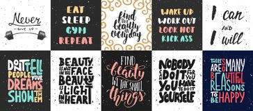 Set of vector motivational and inspirational lettering posters. Greeting cards, decoration, prints. Hand drawn typography design elements. Handwritten Stock Photos