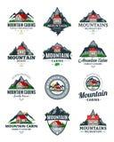 Vector mountain recreation and cabin rentals logo. Set of vector mountain adventures, outdoor recreation and cabin rentals logo royalty free illustration