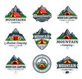 Set of vector mountain camping logo. Set of vector mountain camping and outdoor recreation logo. Campground badges royalty free illustration