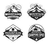 Set of vector mountain camping logo. Set of vector mountain camping and outdoor recreation logo. Campground badges vector illustration