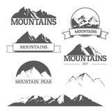 Set of vector mountain logos on white Royalty Free Stock Image