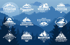 Set of vector mountain and outdoor adventures logo. On mountain landscape background. Tourism, hiking and camping labels. Mountains and travel icons for tourism vector illustration