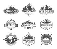 Set of vector mountain and outdoor adventures logo. Tourism, hiking and camping labels. Mountains and travel icons for tourism organizations, outdoor events Stock Photo