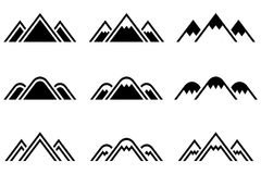 Set of vector mountains signs. Set of nine  mountains signs. Mountain icon. Vector illustration Royalty Free Stock Images
