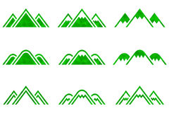 Set of vector mountains signs. Set of nine  mountains signs. Mountain icon. Vector illustration Stock Photos
