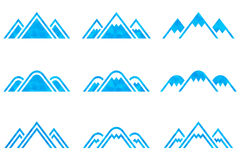 Set of vector mountains signs. Set of nine  mountains signs. Mountain icon. Vector illustration Stock Photography