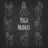 Set of vector mudras Royalty Free Stock Photos