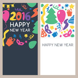 Set of vector multicolor hand drawn New Year greeting cards. Abstract holiday black and white banner backgrounds with place for text Royalty Free Stock Photo