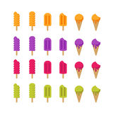 Set of vector multicolor ice cream icons. Ice lolly and cones icons. Royalty Free Stock Photography
