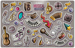 Set of vector Music cartoon stickers Royalty Free Stock Photography