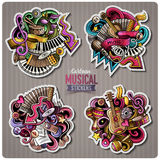 Set of vector Music cartoon stickers Stock Photo