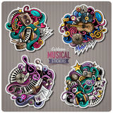 Set of vector Music cartoon stickers Stock Photography