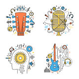 Set of vector music flat line illustrations. Vector music icons for audio store, recording studio label, podcast and radiostation, branding and identity Royalty Free Stock Photos