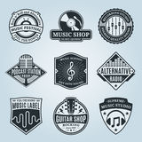 Set of Vector Music Logo, Icons and Design Elements. Set of vector music logo. Music studio, festival, radio, school and shop labels with sample text. Music Stock Illustration