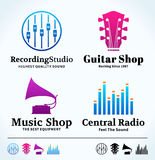 Set of Vector Music Logo, Icons and Design Elements. Set of vector music logo. Music studio, radio and shop labels with sample text. Music icons for audio store Stock Illustration