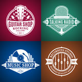 Set of Vector Music Logo, Icons and Design Elements. Set of vector music logo. Music studio, radio and shop labels with sample text. Music icons for audio store Royalty Free Illustration