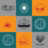 Set of vector music logos and signs. Recording studios and radio badges. Vintage emblems with simple text Royalty Free Stock Photo