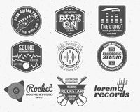 Set of vector music production logo,label, sticker, emblem, print or logotype with elements - guitar, sound recording Royalty Free Stock Photos