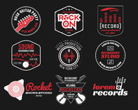 Set of vector music production logo,label, sticker. Emblem, print or logotype with elements - guitar, vinyl for sound recording studio, sound production Stock Images