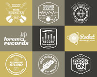 Set of vector music production logo Musical label Stock Photography