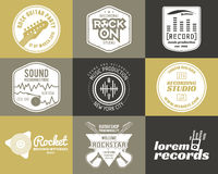 Set of vector music production logo Musical label Royalty Free Stock Photography