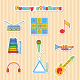 Set of vector musical instrumen stickers. Stock Photo