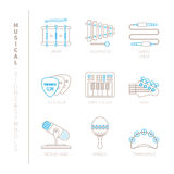 Set of vector musical instrument icons and concepts in mono thin line style Royalty Free Stock Photo