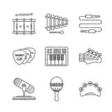 Set of vector musical instrument icons and concepts in sketch style Stock Photo