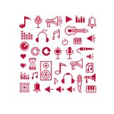 Set of vector musical notes retro signs made in pixel art style. Royalty Free Stock Photography