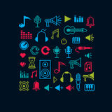 Set of vector musical notes retro signs made in pixel art style. Royalty Free Stock Images