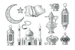 Set of vector muslim illustrations, icons for prayer and ramadan kareem in the style of engraving Royalty Free Stock Images