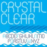 Set of vector narrow upper case English alphabet letters isolate. D created using abstract rhythmic wave lines. Crystal clear stock illustration