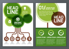 Set of vector nature organic template for brochure, flyer, poster, application and online service. Eco background with green. Circle tree silhouette stock illustration