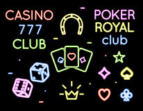 Set vector neon light logos of poker club and Stock Photo