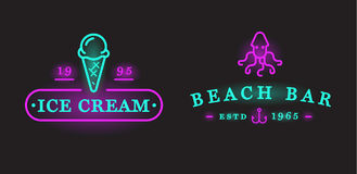Set of Vector Neon Sign Beach Sea Bar Elements and Summer can be Royalty Free Stock Images