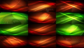 Set of neon smooth wave digital abstract backgrounds. Set of vector neon smooth wave digital abstract backgrounds Stock Images